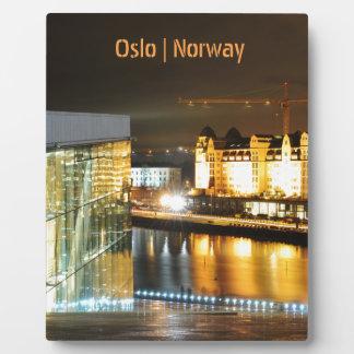 Plaque Photo Oslo, Norvège la nuit