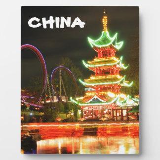 Plaque Photo Pagoda chinoise la nuit