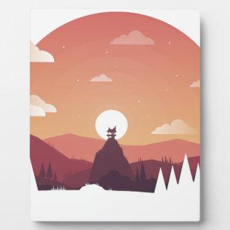 Plaque Photo Paysage de hutte de colline d'art de conception
