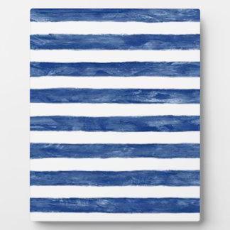 Plaque Photo Rayures bleues nautiques peignant l'art