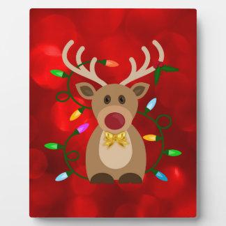 Plaque Photo Renne de Noël dans les lumières