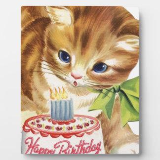 Plaque Photo Rétro salutation vintage de gâteau d'anniversaire