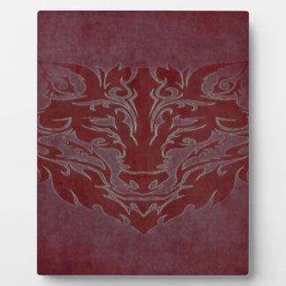 Plaque Photo Rouge tribal de loup