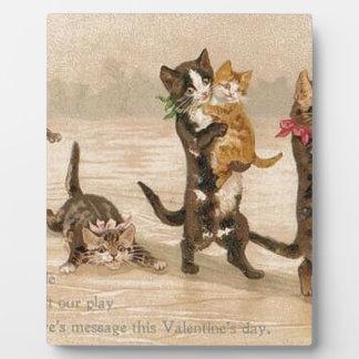 Plaque Photo Saint-Valentin victorienne vintage de chatons de