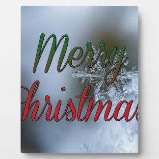 Plaque Photo Salutation de flocon de neige de Joyeux Noël