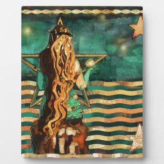 Plaque Photo Sirène par la mer avec la lune et les étoiles