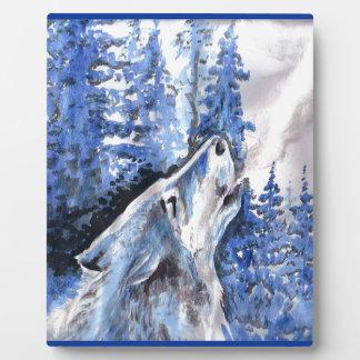 Plaque Photo Souffle bleu de froid de loups d'hiver de loup de