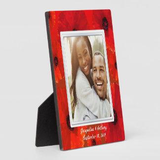 Plaque Photo Souvenir rouge de photo de nouveaux mariés de