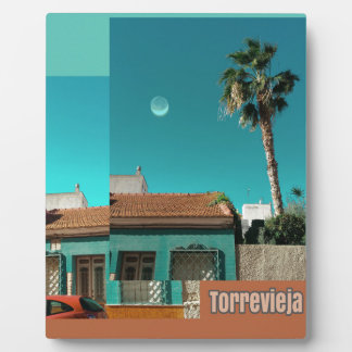 Plaque Photo Torrevieja en orange et turquoise