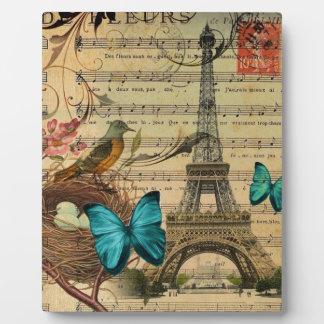 Plaque Photo Tour Eiffel bleu de Paris de nid d'oiseau de Robin