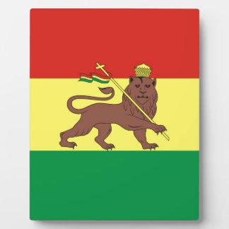 Plaque Photo Vieux drapeau éthiopien avec le lion de Judah