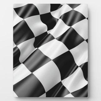 Plaque Photo Vitesse noire et blanche de finition de drapeau de