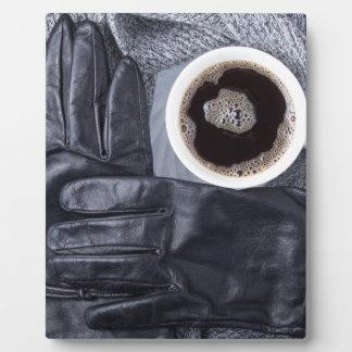 Plaque Photo Vue supérieure d'une tasse blanche de café et de