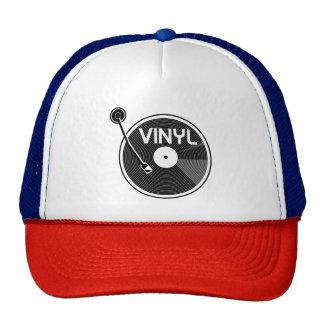 Plaque tournante de disque vinyle noire et blanche casquettes