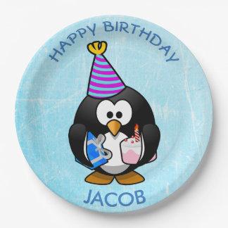 Plaques à papier bleues de pingouin de joyeux assiettes en papier