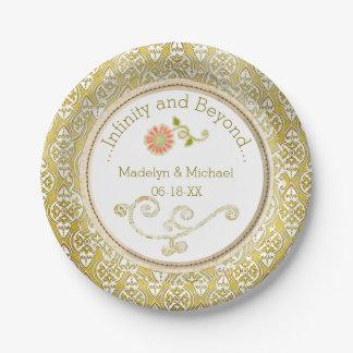 Plaques à papier customisées de mariage damassé assiettes en papier