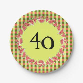 Plaques à papier d'âge du contrôle 40 de pastèque assiettes en papier