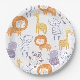 Plaques à papier d'animaux de zoo de collection de assiettes en papier