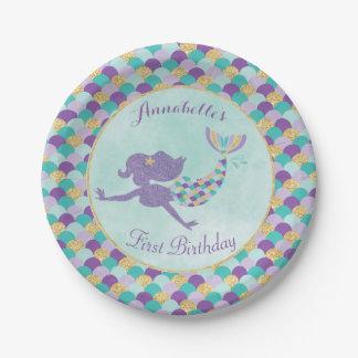 Plaques à papier d'anniversaire de sirène assiettes en papier