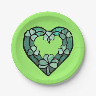Plaques à papier de coeur de shamrock assiettes en papier