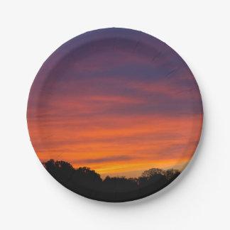 Plaques à papier de coucher du soleil nuageux assiettes en papier
