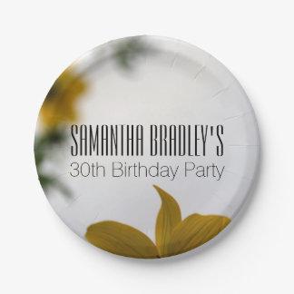 Plaques à papier de fête d'anniversaire de fleurs assiette en papier 17,8 cm
