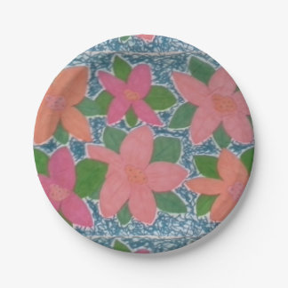 Plaques à papier de fleur tropicale assiettes en papier