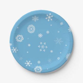 Plaques à papier de flocon de neige assiettes en papier