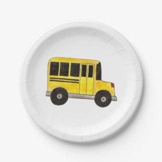 Plaques à papier de grand d'autobus scolaire assiettes en papier