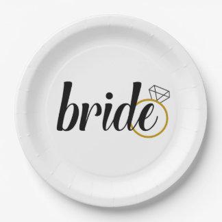 Plaques à papier de jeune mariée pour le assiettes en papier