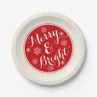 Plaques à papier de joyeux et lumineux flocon de assiettes en papier