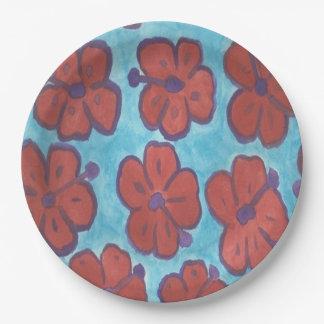 Plaques à papier de motif rouge de ketmie assiettes en papier