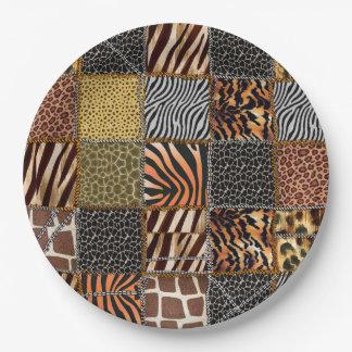 """Plaques à papier de patchwork de safari 9"""" assiettes en papier"""
