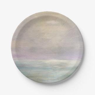 Plaques à papier de paysage marin en pastel assiettes en papier