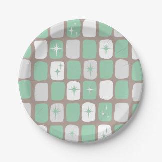 Plaques à papier de Starbursts de rétro jade Assiettes En Papier