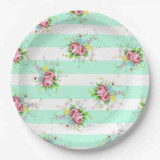 Plaques à papier en bon état de dîner floral vert assiettes en papier