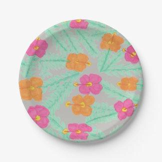 Plaques à papier florales de jungle tropicale assiettes en papier