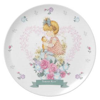Plat #1 Teal de porcelaine de Sarah Kay Fleur Assiette