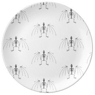 Plat à ailes de 2 squelettes assiettes en porcelaine