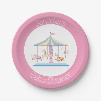 Plat animal en pastel de baby shower de carrousel assiettes en papier
