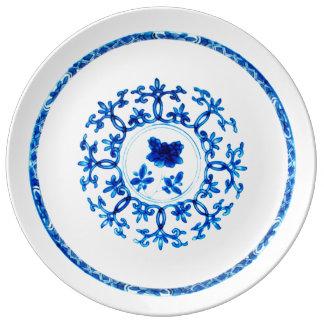 Plat blanc bleu assiette en porcelaine