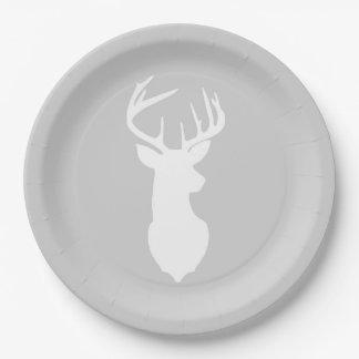 Plat blanc | de silhouette de cerfs communs de assiette en papier 22,8 cm