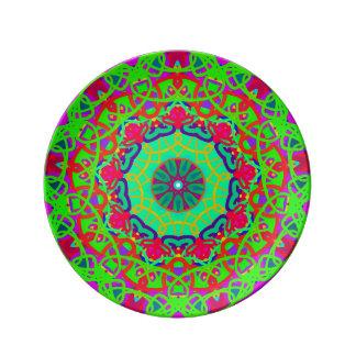 Plat coloré de mandala vert de santé assiettes en porcelaine