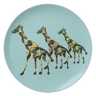 Plat de famille de girafe assiette
