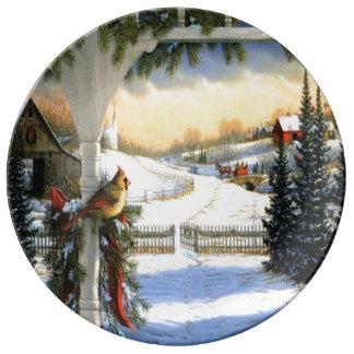 Plat de gâteau de Noël de porcelaine Assiette En Porcelaine
