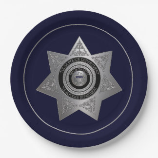 PLAT de la Tulsa-Police-Département-Insigne-OPTION Assiettes En Papier