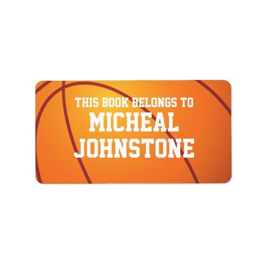 Plat de livre personnalisé de basket-ball étiquette d'adresse