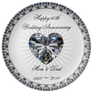 Plat de porcelaine d'anniversaire de coeur assiette en porcelaine
