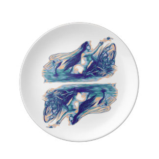 Plat de porcelaine de sirène reflété assiette en porcelaine
