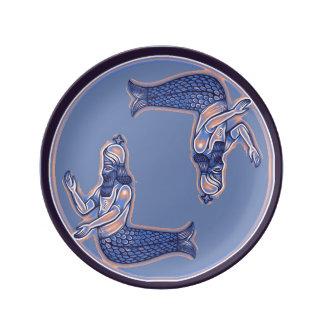 Plat de porcelaine de triton de sirène assiettes en porcelaine